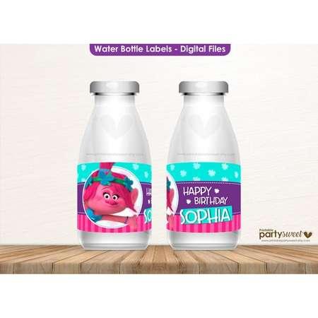 Trolls Inspired Water Bottle Label Trolls Bottle Label Trolls Water Bottle Label Trolls Birthday Party Trolls Party Supplies Trolls Label thumb