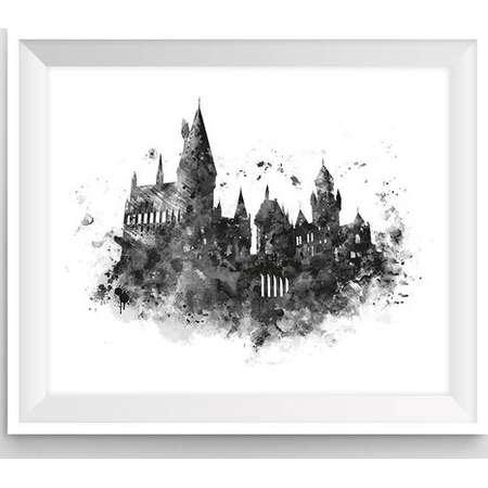 Hogwarts Castle, Art Print, Hogwarts Wall Art, illustration, Black and White, Harry Potter Print, Harry Potter Gift, Printable, Download thumb