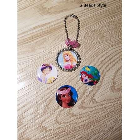 10 - Pink Princess - Zipper Pull Favors. Sleeping Beauty, Mulan, Ariel, Moana thumb