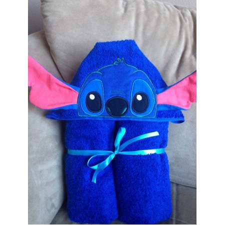 Blue Alien Hooded Towel - Stitch Alien Inspired Towel - Blue - Alien - Kids Gifts thumb