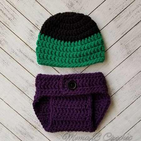 Crochet Hulk Baby Set, Incredible Hulk Hat, Hulk Photo Prop, Crochet Photo Prop Set, Photo Prop Baby Set, Hulk Costume thumb