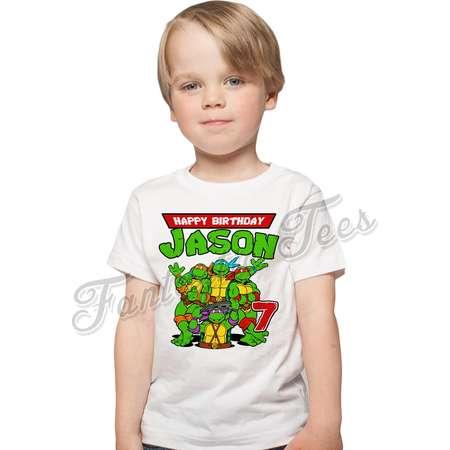 Teenage Mutant Ninja Turtles Birthday Shirt Add Name & Age TMNT Custom Birthday Party TShirt 01 thumb
