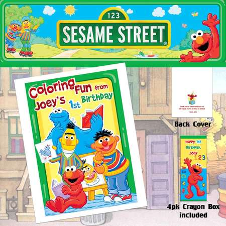Sesame Street Coloring Book & Crayons/Birthday Party Favor/Personalized Favors thumb