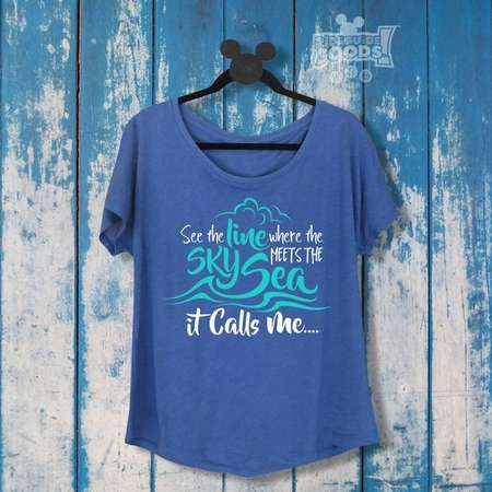 See the Line Where the Sky Meets the Sea It Calls Me | Ladies Slouchy Tee | Disney-Inspired | Moana thumb