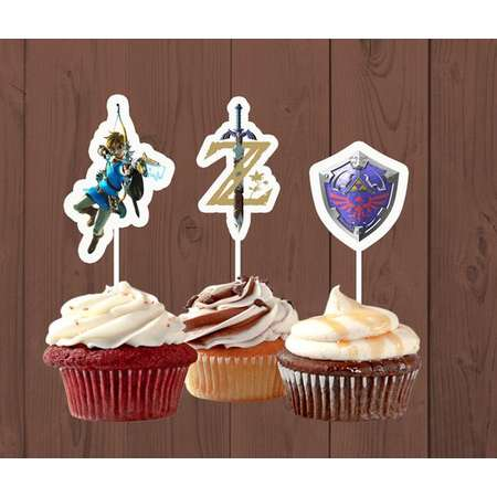 Legend of Zelda Cupcake Toppers, Zelda Birthday Party, Breath of the Wild thumb