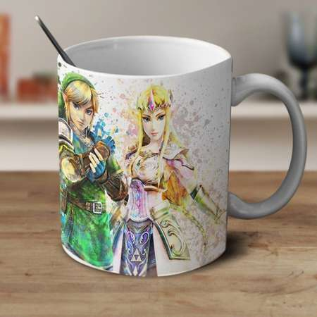 Princess Zelda and Link Mug, Legend of Zelda Mug, Zelda Mug, Zelda Watercolor Mug, Zelda Coffee mug, Zelda Cup thumb