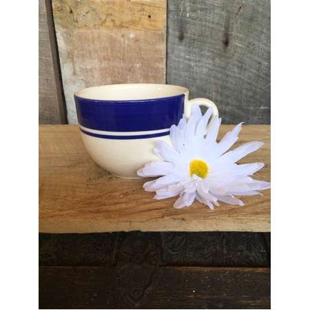 Vintage mug blue cup blue and white soup mug decor, furious made in Italy farmhouse country bowl cottage dish coco shabby chic thumb