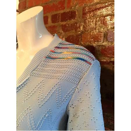 Vintage 80's Summer Knit Sweater with Rainbow Accents: The Bob Ross Sweater! bust 36-40 thumb