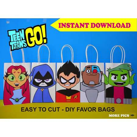 Teen Titans Go Party FAVOR BAGS/ Teen Titans Birthday Party Favors/ DIY Goody/ Goodie/ Loot/ Treat/ Candy/ Gift Bags/ Printable Decoration thumb