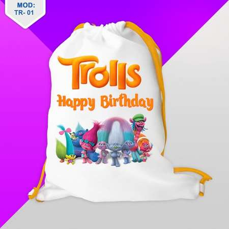 5Qty Trolls Favor Bag Birthday - Birthday Party - Custom Backpack - Drawstring Bag - Favor candy - 8''x12'' or 12''x16'' thumb