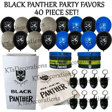 40 Piece Black Panther Party Set! Includes Bracelets, Latex Balloons, Goody Bags, Metal Keychains ~ Great Favors, Loot Bag Fillers, prizes thumb
