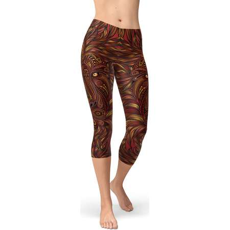 Lion King Capris For Women - All Over Print Lion Tights With Lion Head Print On Both Sides, Perfect Animal Print Leggings For Yoga Wear thumb