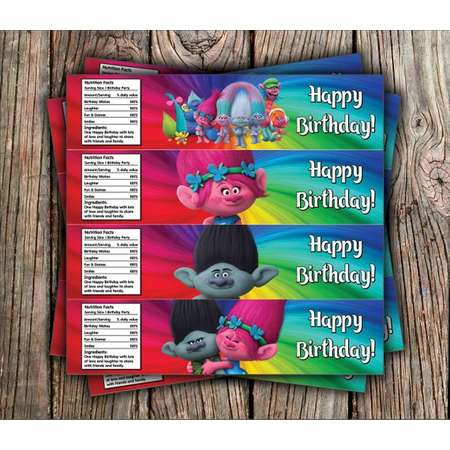 Trolls/Water Bottle Label / Trolls Birthday/ Trolls Water Bottle Labels/ Trolls Party/ Trolls Printables/ Disney Trolls - Instant Download thumb