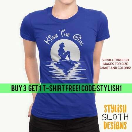 Kiss the Girl T shirt, Little mermaid Ariel  T-shirt, Disney Princess T-shirt , Disney T-shirt Women Men Children T shirt thumb