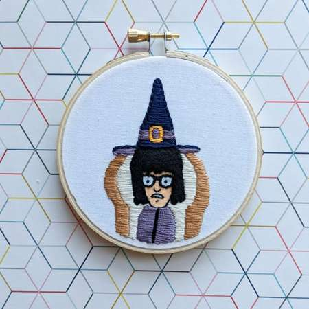 Teen-A-Witch - Bob's Burgers Tina Belcher - Sandy Witch Costume - Handmade Embroidery Hoop 4 Inch - Made to Order thumb