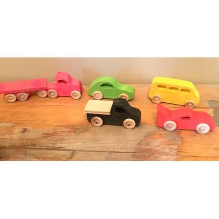 SET of 5 Wooden Toy Cars thumb