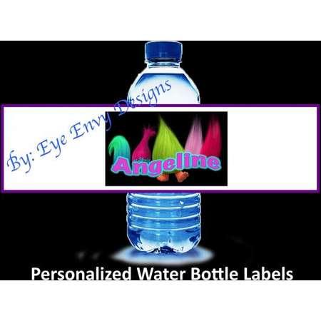 Trolls Water Bottle 12 Labels thumb