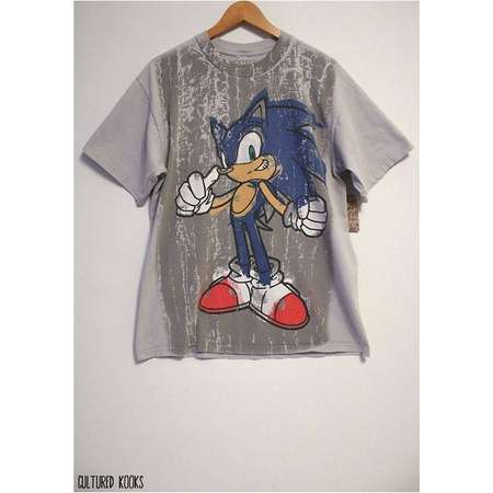 e70afecd2 Retro 90s Sonic The Hedgehog Tire Tracks Sega Faded Light Gray T-shirt-  Size Men's Large (Cotton)