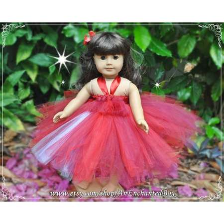 "ELENA of AVALOR Princess Dress for 18"" American Girl Doll, 15"" Bitty Doll, Dressup Gown, Tutu Costume, Valentine, Red, Flower Girl Gift thumb"