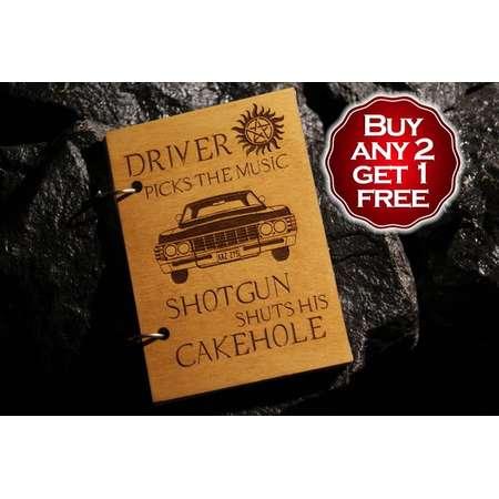 Driver picks the music Impala wooden notebook / sketchbook / diary / Supernatural journal / travelbook / Supernatural gift thumb