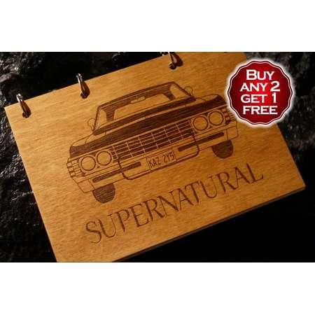 Impala wooden notebook / Supernatural notebook / sketchbook / diary / Supernatural journal / travelbook / Supernatural gift thumb