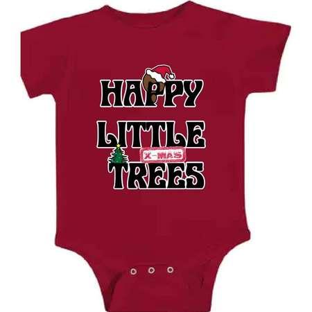 Happy Little X-Mas Trees Bob Ross Bodysuit, Onesie thumb