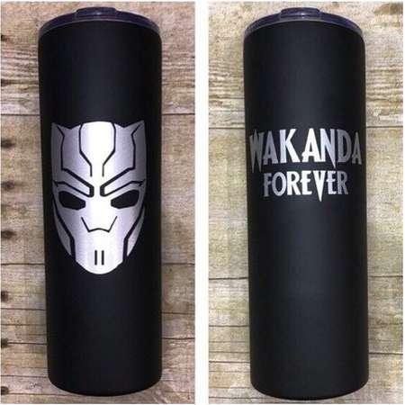 Black Panther Wakanda Forever 22oz Stainless Steel Cup with Straw, Wakanda Forever Tumbler, Black Panther Tumber, Blank Panter Travel Mug thumb