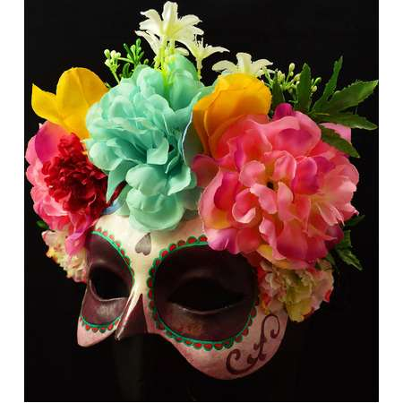 Frida Kahlo Costume Mask Inspired made to order, Coco Costume, Day of the Dead, Catrina, Dia de los Muertos, Half Face Mask thumb