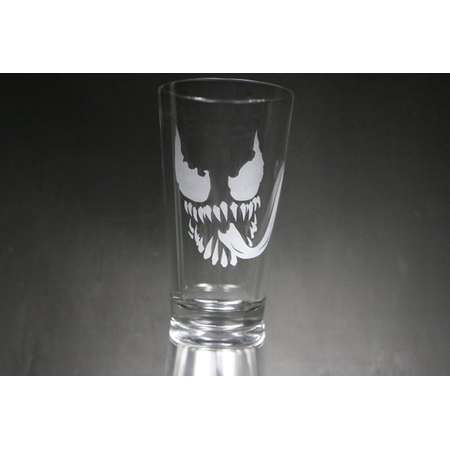 Venom Etched Glass, Marvel, Spider-Man, Personalized Gift, Custom Gift, Glassware. thumb