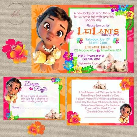 Baby Moana Baby Shower Invitation// Baby Shower Packages// Hawaiian Theme// New Baby// Moana thumb