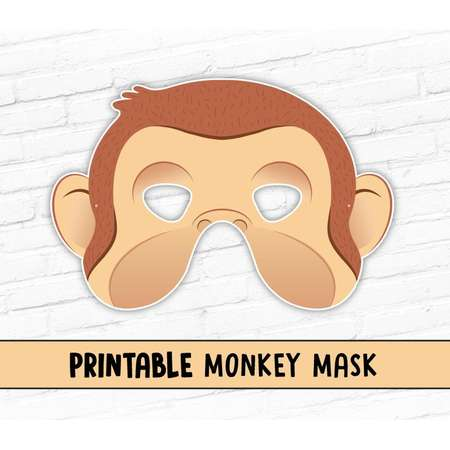 NEW Monkey Printable Halloween Mask, Curious George Costume, 2016 Year of the Monkey thumb