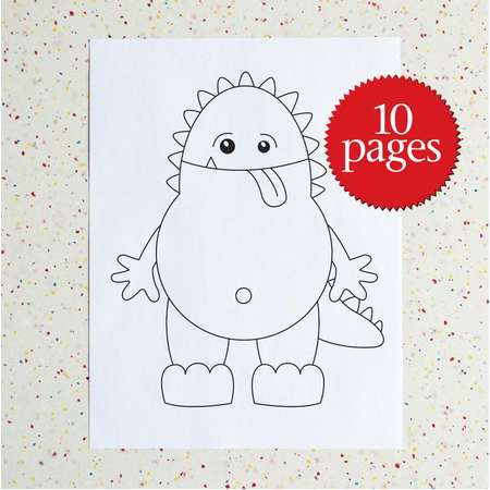 Monster Colour Pages - Monsters - Coloring Book - Creatures - Supernatural - Instant download - printable pdf - Children Activity thumb
