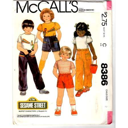 Vintage 1983 UnCut McCall's 8386 Sewing Pattern - Sesame Street  Child's Size 2 T-Shirt, Pants or Shorts and Iron-On Transfer thumb