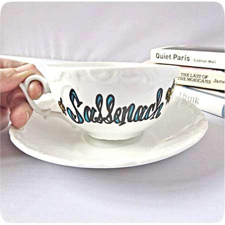 Sassenach, Tea Cup, Funny Coffee Cup and Saucer, Bridesmaid Gift, Bride Tea, Girlfriend, Outlander Mug, Claire Fraser, Jamie, Gabaldon thumb
