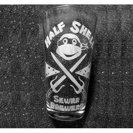 TMNT Teenage Mutant Ninja Turtles Half Shell Sewer Brewers etched tumbler, pint glass, beer cup thumb