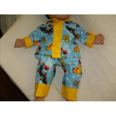 "14"" 15"" 16"" American Made Boy Doll Clothes Yellow N Sesame Street Print Pajamas Fits Baby Boy or Girl Dolls thumb"