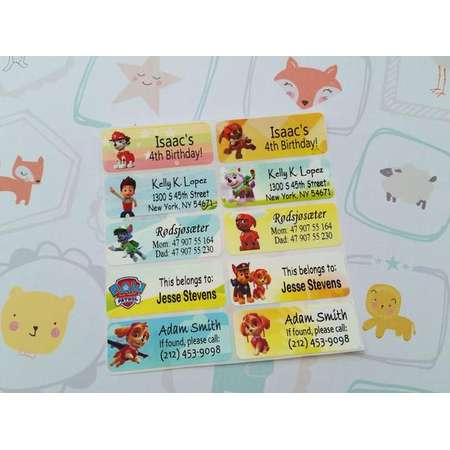 40 PAW PATROL Custom Vinyl Name Labels-School, Daycare, Nursery, Lunch Box, Water Bottle, Summer Camp, Address thumb