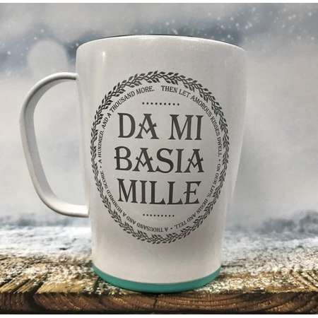 Da mi basia Mille thermal coffee mug with lid, Outlander Gift, Outlander Valentine's Day thumb
