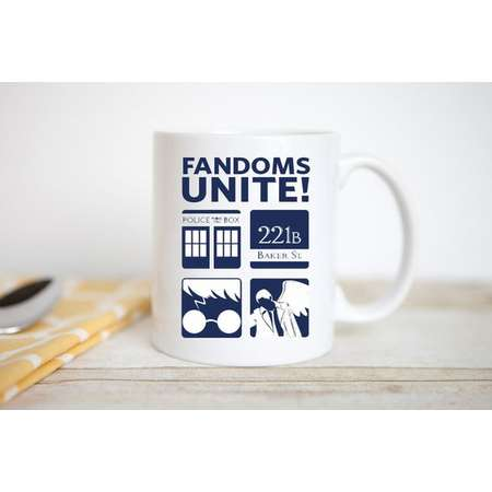 Fandoms Unite! | Doctor Who | Sherlock | Harry Potter | Supernatural | Coffee Mug thumb