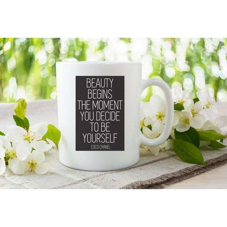 Beauty Begins the Moment You Decide to be Yourself | Coco Chanel | Inspiration | Positivity | Coffee Lovers Mug thumb