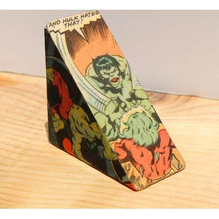 The Incredible Hulk! An Upcycled and Decoupaged Comic Book Block thumb