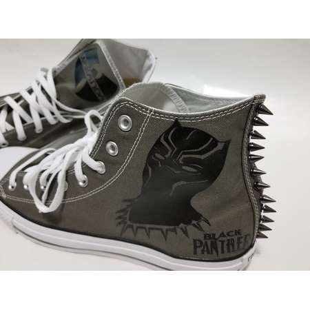 Black Panther Spike Converse- Gray High Top Shoes and Spikes for Adults thumb