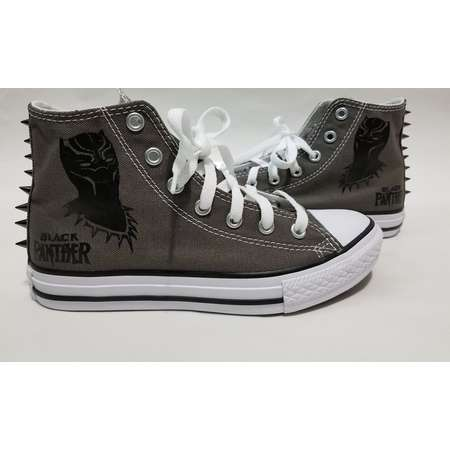 Black Panther Spike Converse- Gray High Top Shoes and Spikes for Boys or Girls thumb