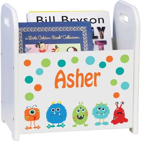 Personalized Monster Mash White Book Caddy magazine rack Aliens Alien Blue Green Orange Lime Theme Déco cadd-206 thumb