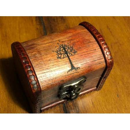 JRR Tolkien inspired mini Tree of Gondor small wood burned wedding ring box chest- Lord of the Rings The Hobbit thumb