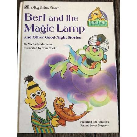 Vintage Sesame Street Good-Night Stories Hardcover Book - Bert and the Magic Lamp and other Good Night Stores By Michaela Muntean - 1989 thumb