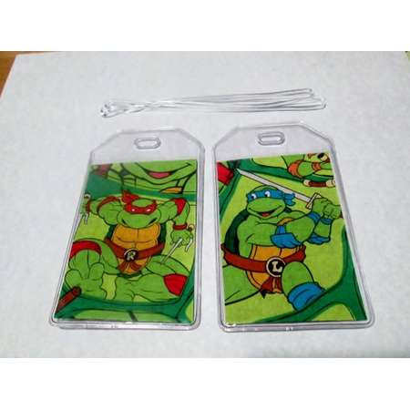TMNT Teenage Mutant Ninja Turtles pair luggage tags,  travel accessory Gift Card Holder ID backpack strollers wheelchair golf or athletic thumb