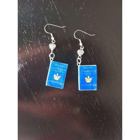 Outlander Mini Book Earrings with Celtic Heart Charms thumb