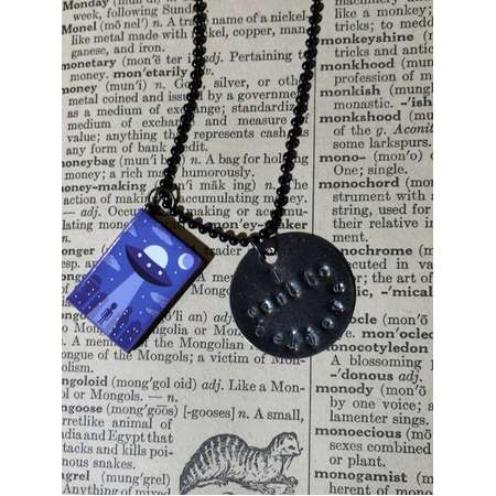 I want to believe X-files Inspired Alien Book Necklace thumb