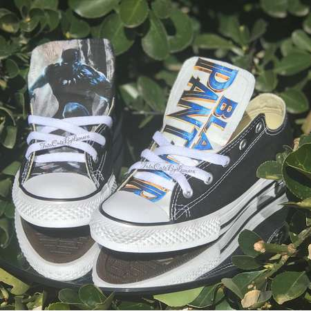 Custom Baby/ Kids Low Top Black Panther Inspired Converse thumb